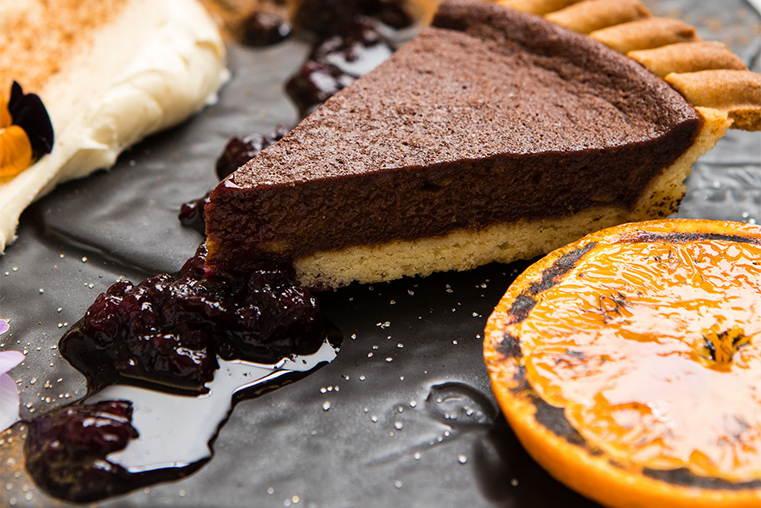 Burnt orange and chocolate tart