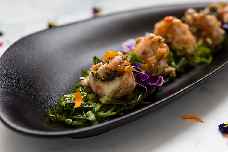 Wasabi prawns with mango and mint salsa